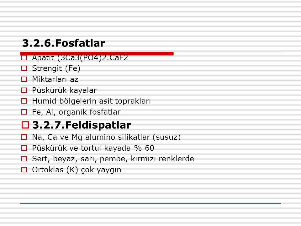 3.2.6.Fosfatlar  Apatit (3Ca3(PO4)2.CaF2  Strengit (Fe)  Miktarları az  Püskürük kayalar  Humid bölgelerin asit toprakları  Fe, Al, organik fosf