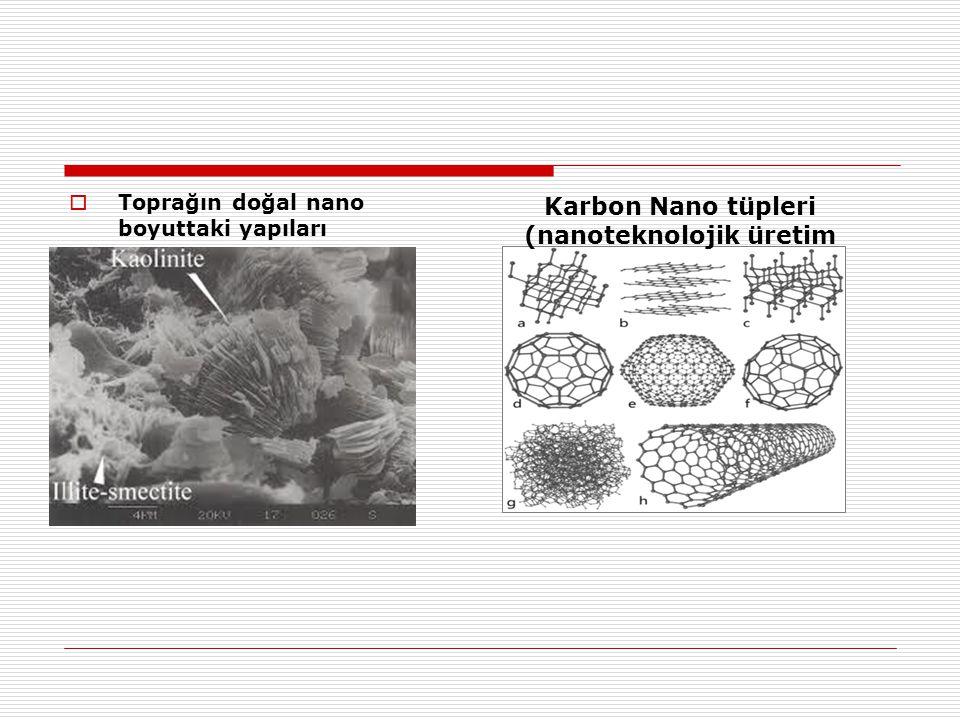  Toprağın doğal nano boyuttaki yapıları Karbon Nano tüpleri (nanoteknolojik üretim