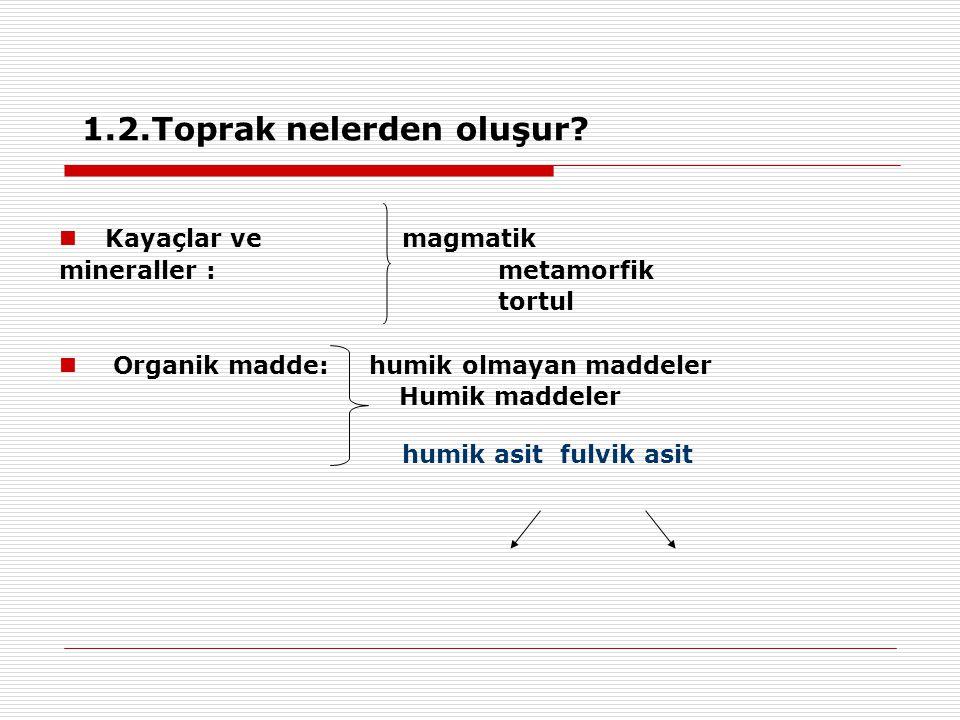 ÖzellikKaolinit Smektit / Vermikulit İllit sınıf1:1 (TetraOkta)2:1 (TOT) Genişleme (şişme) düşükYüksek/ortaDüşük/yok Katlar arası bağlar iyonik > H-bağı > van der Waals Hidrojen (güçlü) O-O & O-katyon, van der Waals (zayıf) Potasyum iyonları (güçlü) Net negatif yük (KDK)  verimlilik düşükYüksek/çok yüksekorta Yüklerin yeri Sadece kenarlar,izomorfik yerdeğişimi yok Oktahedral / Okta+Tetra Tetra(~Potasyumla dengelenmiş) yani kenarlarda Çizelge.Killerin özelliklerinin karşılaştırılması
