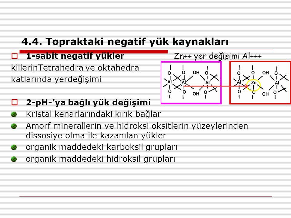 4.4. Topraktaki negatif yük kaynakları  1-sabit negatif yükler Zn++ yer değişimi Al+++ killerinTetrahedra ve oktahedra katlarında yerdeğişimi  2-pH-