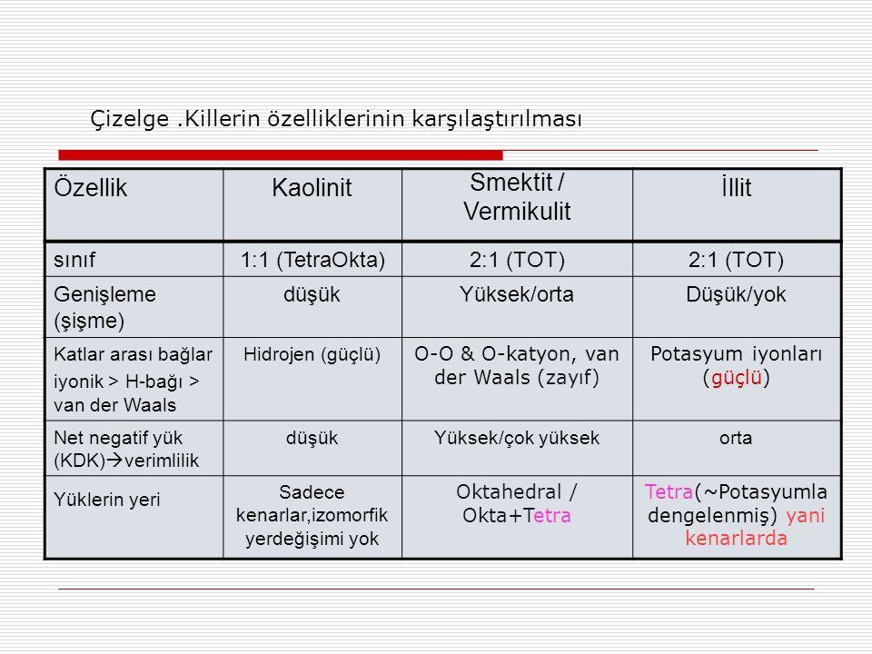 ÖzellikKaolinit Smektit / Vermikulit İllit sınıf1:1 (TetraOkta)2:1 (TOT) Genişleme (şişme) düşükYüksek/ortaDüşük/yok Katlar arası bağlar iyonik > H-ba
