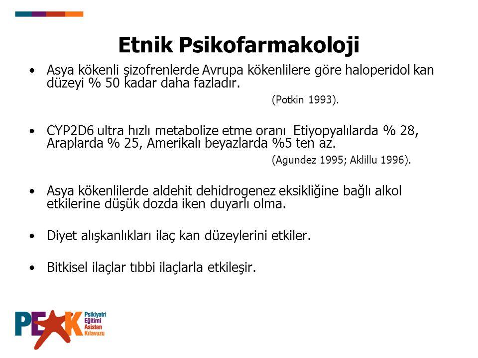 Etnik Psikofarmakoloji Asya kökenli şizofrenlerde Avrupa kökenlilere göre haloperidol kan düzeyi % 50 kadar daha fazladır. (Potkin 1993). CYP2D6 ultra