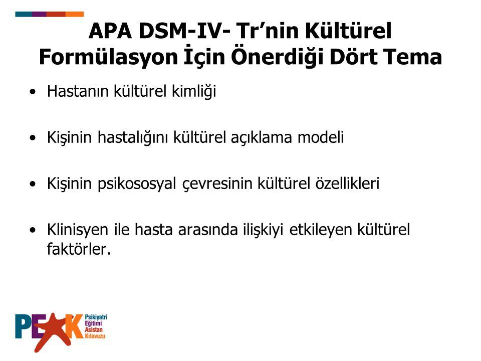 APA DSM-IV- Tr'nin Kültürel Formülasyon İçin Önerdiği Dört Tema Hastanın kültürel kimliği Kişinin hastalığını kültürel açıklama modeli Kişinin psikoso