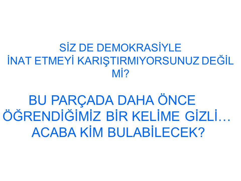 SİZ DE DEMOKRASİYLE İNAT ETMEYİ KARIŞTIRMIYORSUNUZ DEĞİL Mİ.