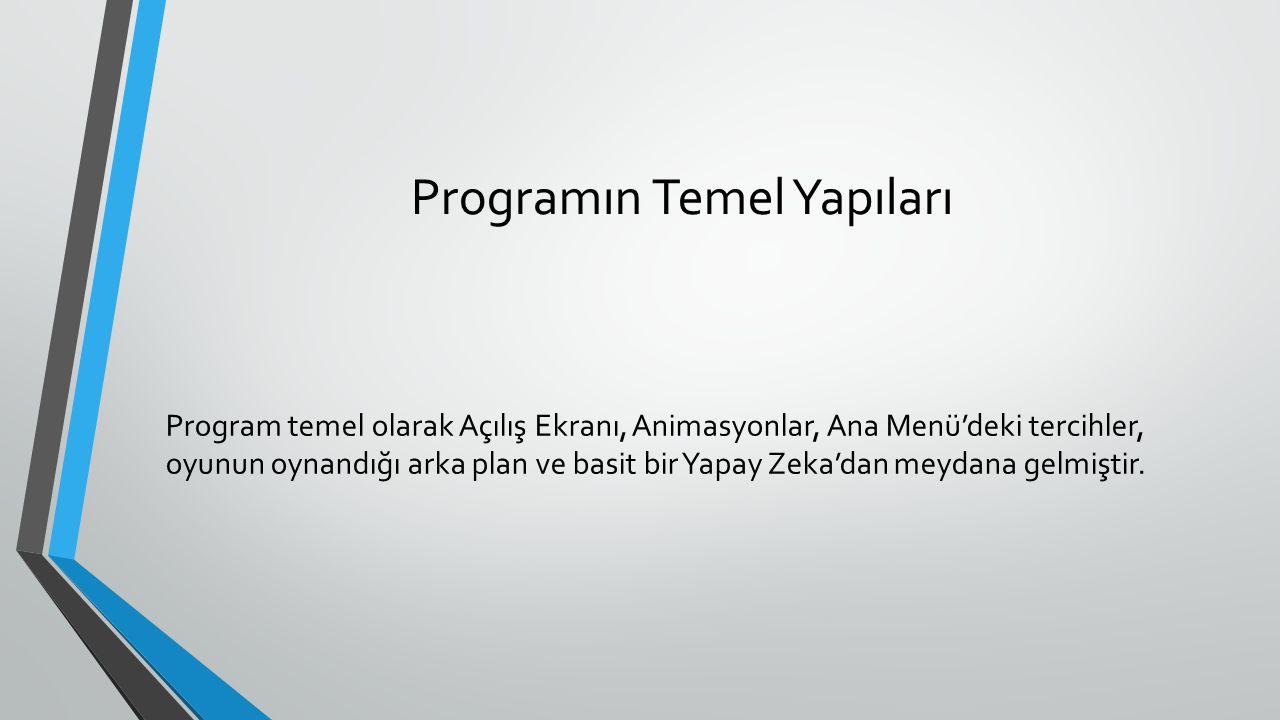 Programın Temel Yapıları Program temel olarak Açılış Ekranı, Animasyonlar, Ana Menü'deki tercihler, oyunun oynandığı arka plan ve basit bir Yapay Zeka
