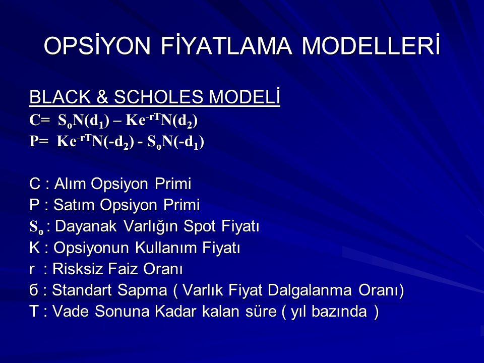 OPSİYON FİYATLAMA MODELLERİ BLACK & SCHOLES MODELİ C= SoN(d1) – Ke-rTN(d2) P= Ke-rTN(-d2) - SoN(-d1) C : Alım Opsiyon Primi P : Satım Opsiyon Primi So