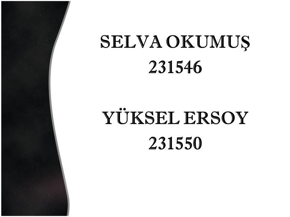 SELVA OKUMU Ş 231546 YÜKSEL ERSOY 231550