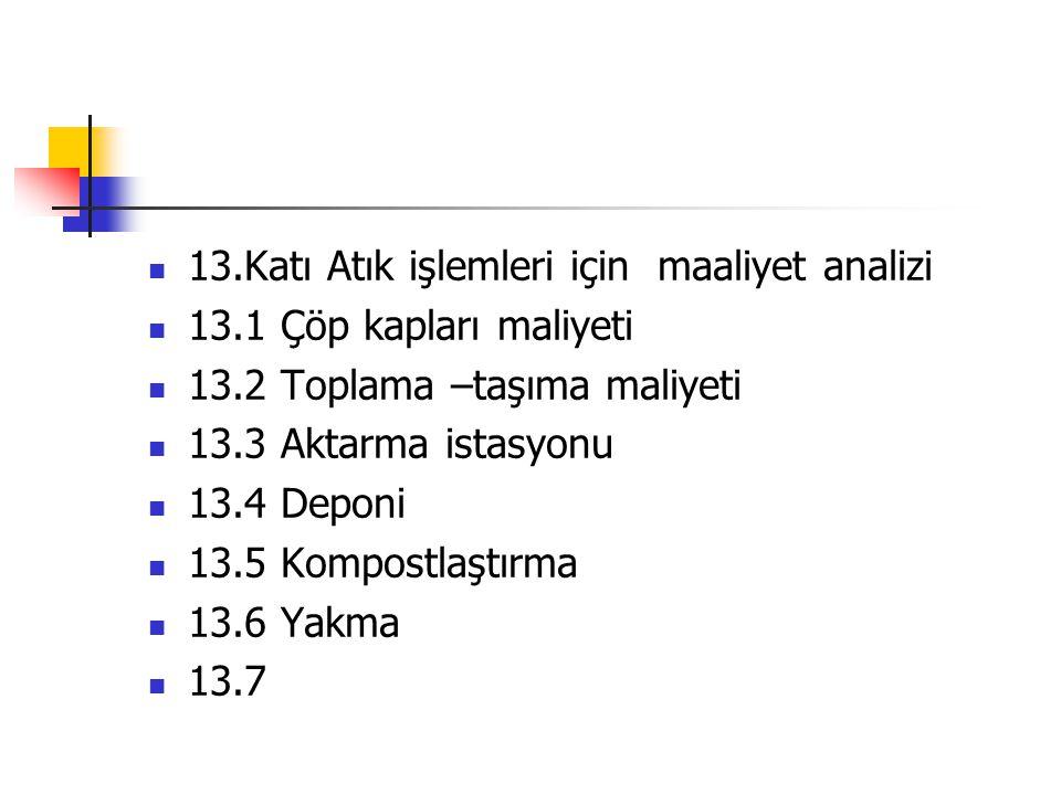 13.Katı Atık işlemleri için maaliyet analizi 13.1 Çöp kapları maliyeti 13.2 Toplama –taşıma maliyeti 13.3 Aktarma istasyonu 13.4 Deponi 13.5 Kompostla