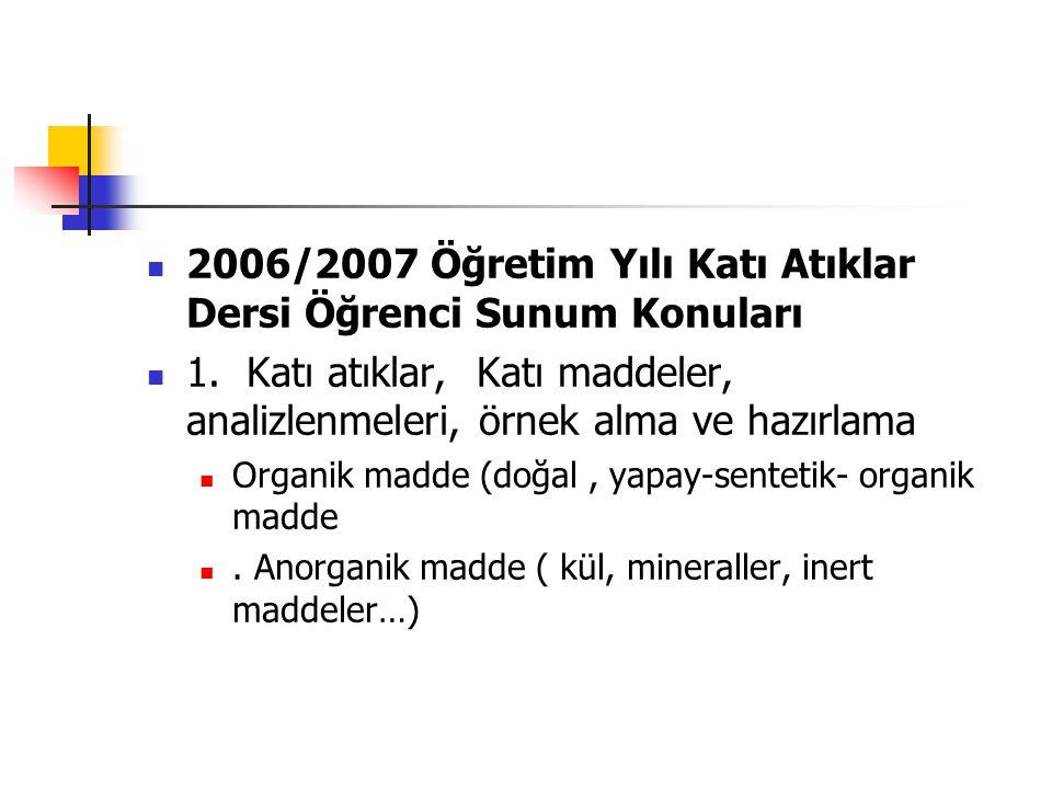 2006/2007 Öğretim Yılı Katı Atıklar Dersi Öğrenci Sunum Konuları 1. Katı atıklar, Katı maddeler, analizlenmeleri, örnek alma ve hazırlama Organik madd