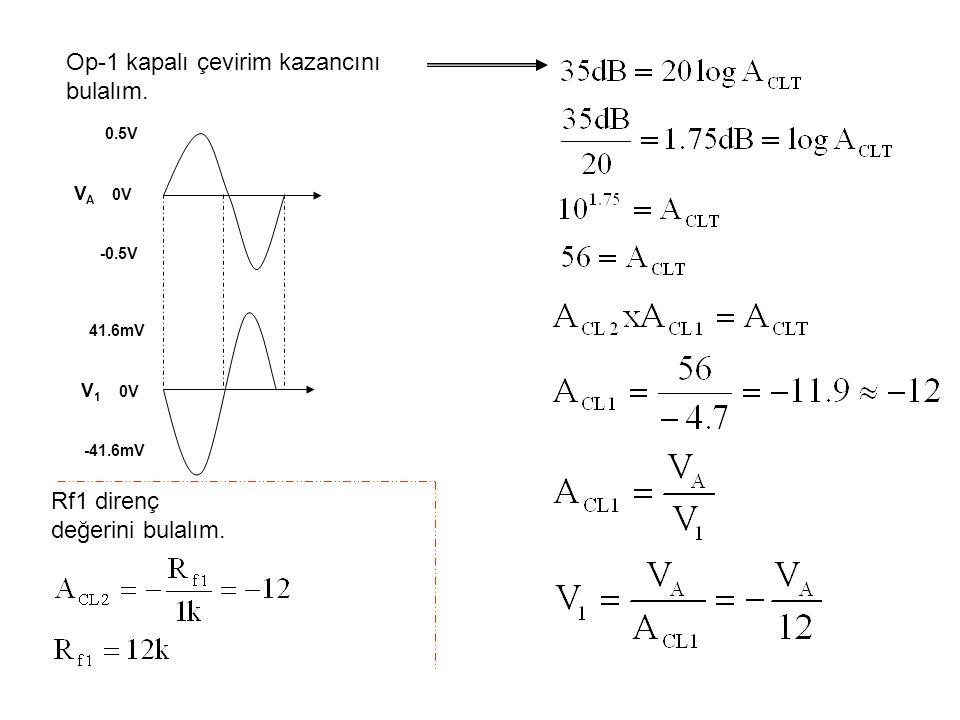 Op-1 kapalı çevirim kazancını bulalım. 0.5V V A 0V -0.5V 41.6mV V 1 0V -41.6mV Rf1 direnç değerini bulalım.