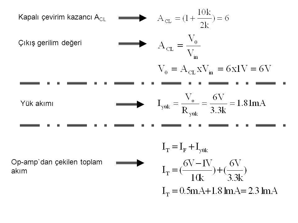 Kapalı çevirim kazancı A CL Çıkış gerilim değeri Yük akımı Op-amp`dan çekilen toplam akım