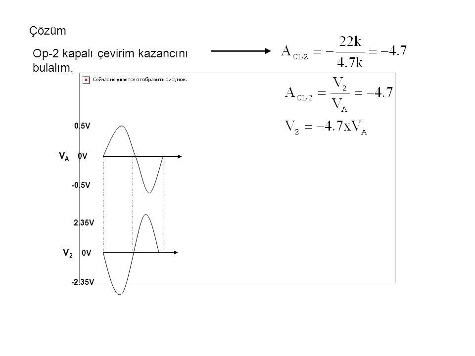 Çözüm Op-2 kapalı çevirim kazancını bulalım. 0.5V V A 0V -0.5V 2.35V V 2 0V -2.35V