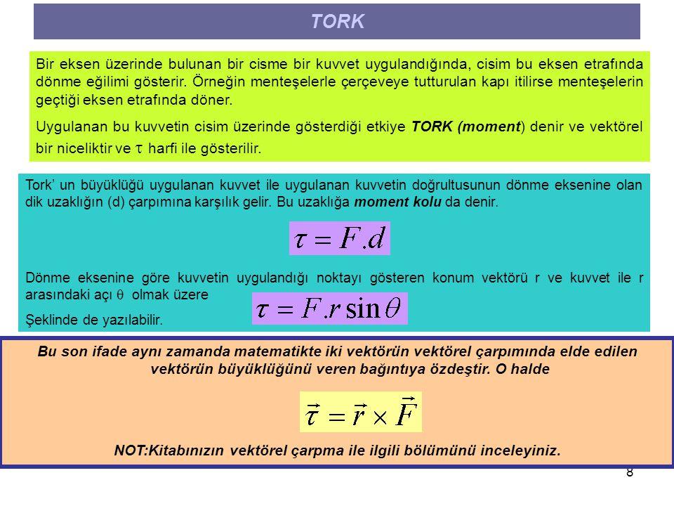 9 TORK VE AÇISAL İVEME Tork ifadesi incelenirse kuvvetin cisim üzerinde bir dönme etkisi oluşturabilmesi için kuvvetin teğetsel bileşeninin olması gerekir.
