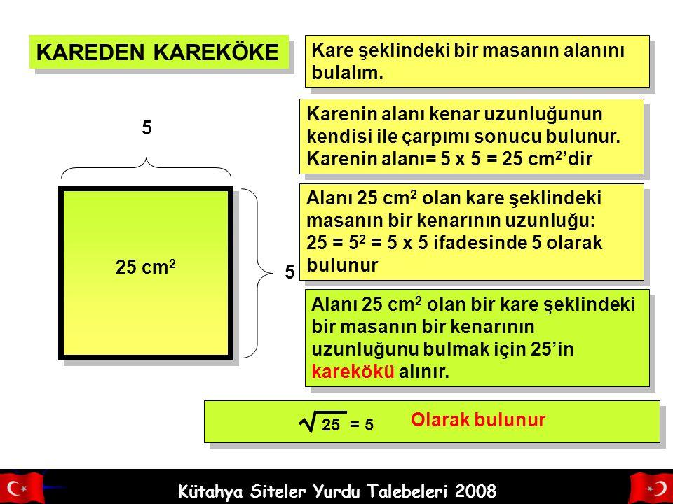 Kütahya Siteler Yurdu Talebeleri 2008 Verilen sayının, hangi sayının karesi olduğunu bulma işlemine karekök alma işlemi denir. Karekök sembolü ile gös
