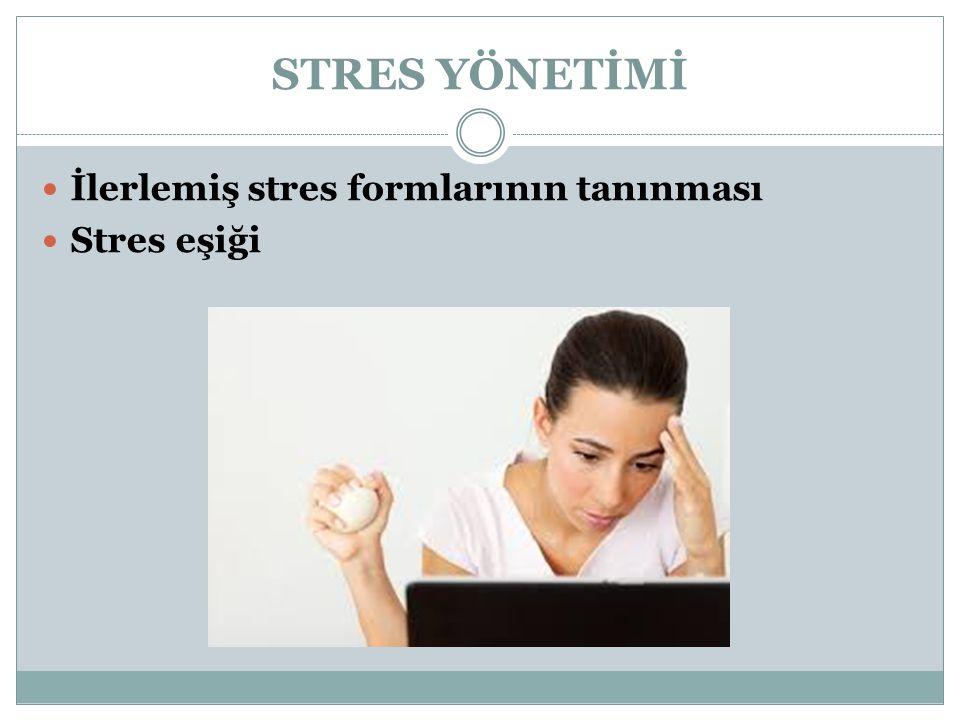 STRES YÖNETİMİ İlerlemiş stres formlarının tanınması Stres eşiği