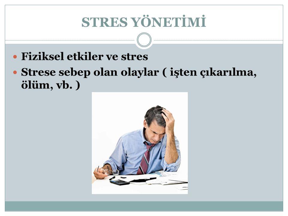 STRES YÖNETİMİ Fiziksel etkiler ve stres Strese sebep olan olaylar ( işten çıkarılma, ölüm, vb. )