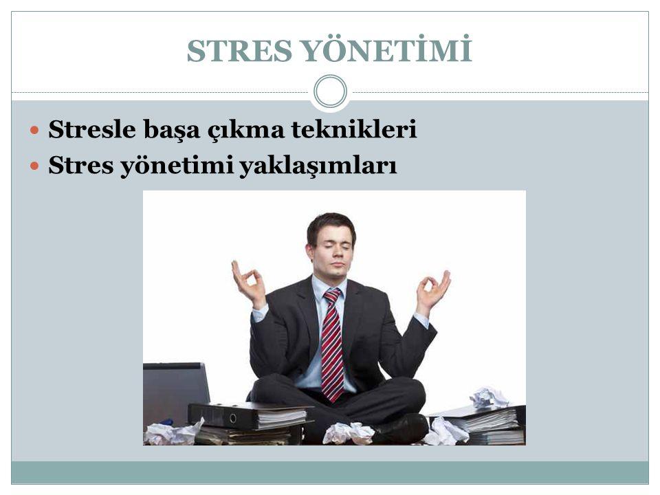 STRES YÖNETİMİ Stresle başa çıkma teknikleri Stres yönetimi yaklaşımları