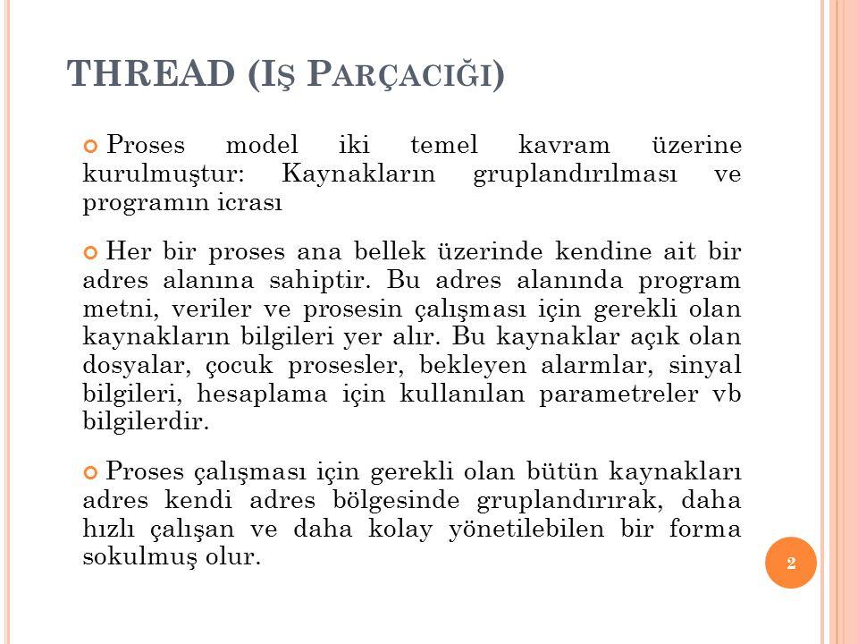 2 Proses model iki temel kavram üzerine kurulmuştur: Kaynakların gruplandırılması ve programın icrası Her bir proses ana bellek üzerinde kendine ait b
