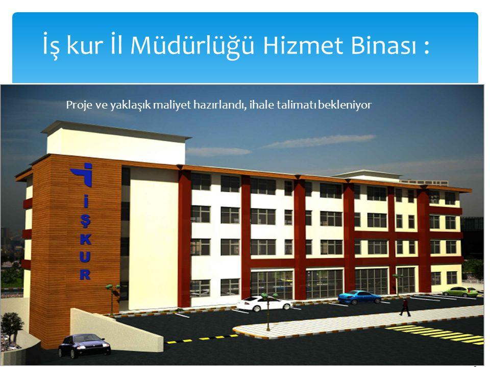 İş kur İl Müdürlüğü Hizmet Binası : Proje ve yaklaşık maliyet hazırlandı, ihale talimatı bekleniyor