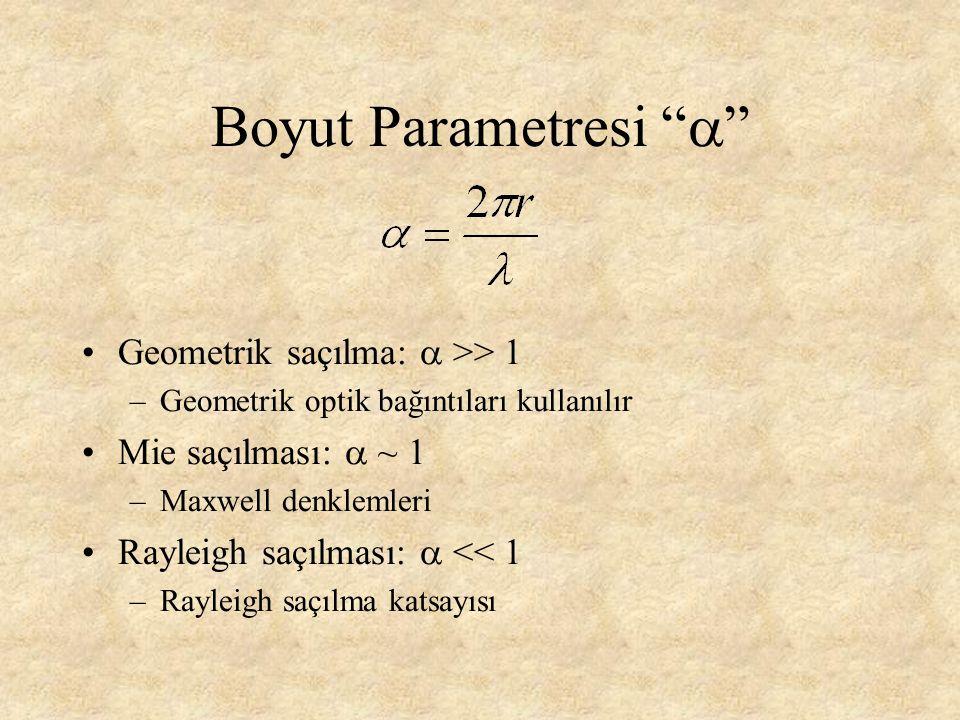 """Boyut Parametresi """"  """" Geometrik saçılma:  >> 1 –Geometrik optik bağıntıları kullanılır Mie saçılması:  ~ 1 –Maxwell denklemleri Rayleigh saçılması"""