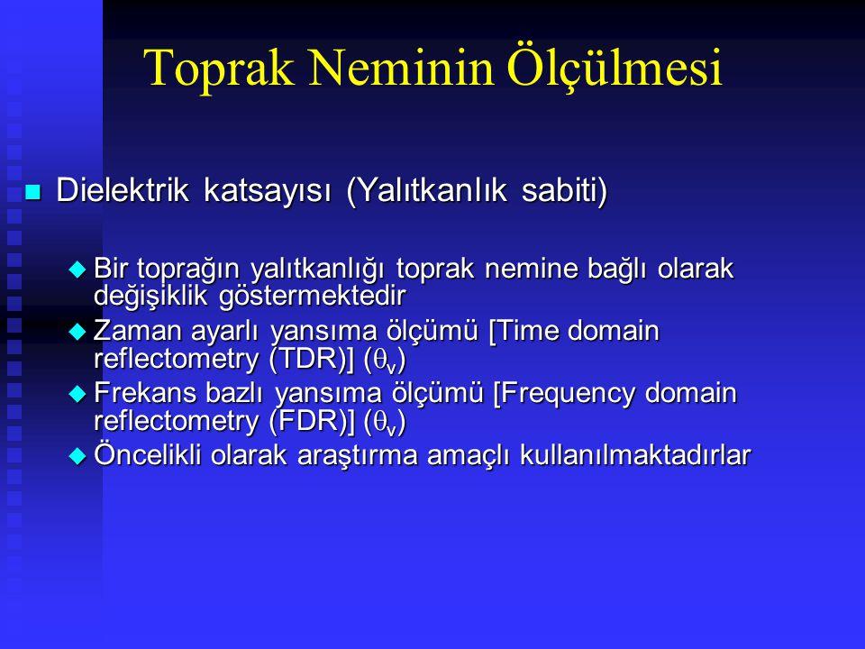 n Dielektrik katsayısı (Yalıtkanlık sabiti) u Bir toprağın yalıtkanlığı toprak nemine bağlı olarak değişiklik göstermektedir u Zaman ayarlı yansıma ölçümü [Time domain reflectometry (TDR)] (  v ) u Frekans bazlı yansıma ölçümü [Frequency domain reflectometry (FDR)] (  v ) u Öncelikli olarak araştırma amaçlı kullanılmaktadırlar Toprak Neminin Ölçülmesi