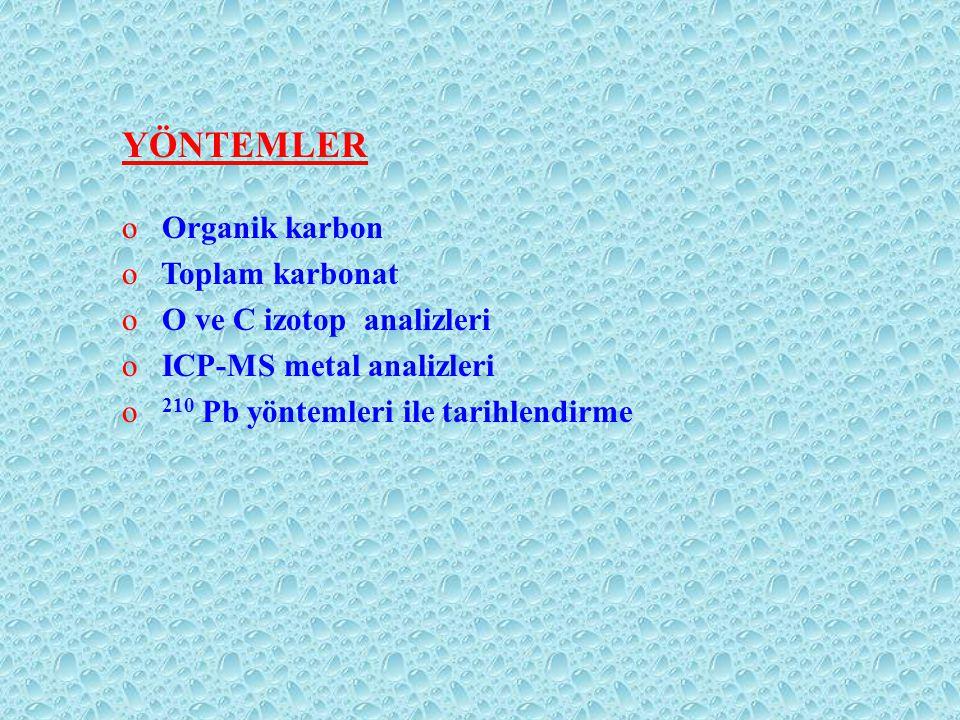 YÖNTEMLER o Organik karbon o Toplam karbonat o O ve C izotop analizleri o ICP-MS metal analizleri o 210 Pb yöntemleri ile tarihlendirme