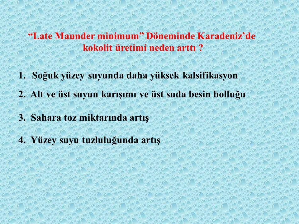 Late Maunder minimum Döneminde Karadeniz'de kokolit üretimi neden arttı .