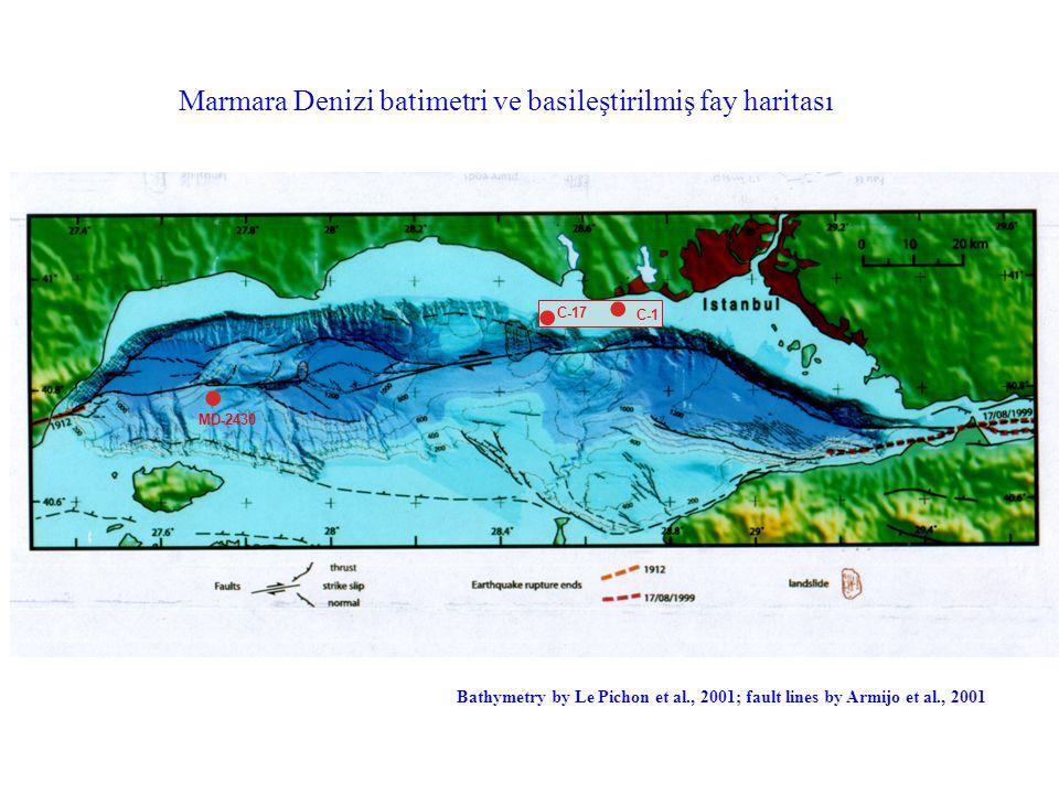 (Bathymetry after Le Pichon et al., 2000; Fault lines after Armijo et al., 2001) MD-2430 Bathymetry by Le Pichon et al., 2001; fault lines by Armijo et al., 2001 Marmara Denizi batimetri ve basileştirilmiş fay haritası C-17 C-1
