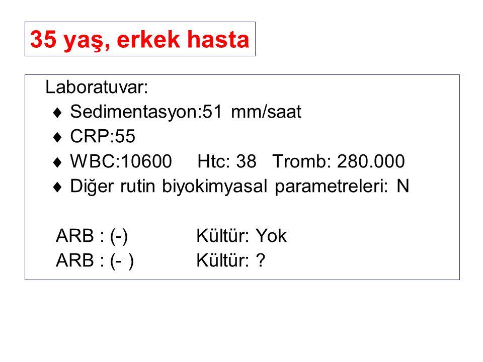 Laboratuvar:  Sedimentasyon:51 mm/saat  CRP:55  WBC:10600 Htc: 38 Tromb: 280.000  Diğer rutin biyokimyasal parametreleri: N ARB : (-) Kültür: Yok