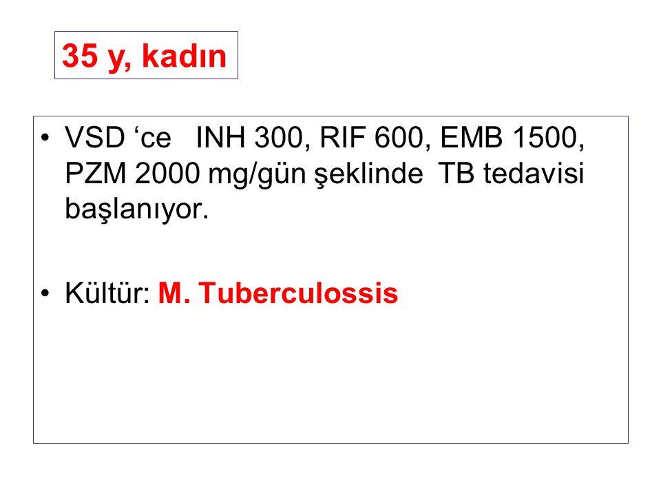 VSD 'ce INH 300, RIF 600, EMB 1500, PZM 2000 mg/gün şeklinde TB tedavisi başlanıyor. Kültür: M. Tuberculossis 35 y, kadın