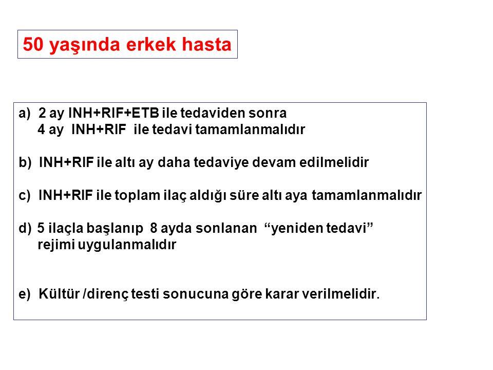 a) 2 ay INH+RIF+ETB ile tedaviden sonra 4 ay INH+RIF ile tedavi tamamlanmalıdır b) INH+RIF ile altı ay daha tedaviye devam edilmelidir c) INH+RIF ile