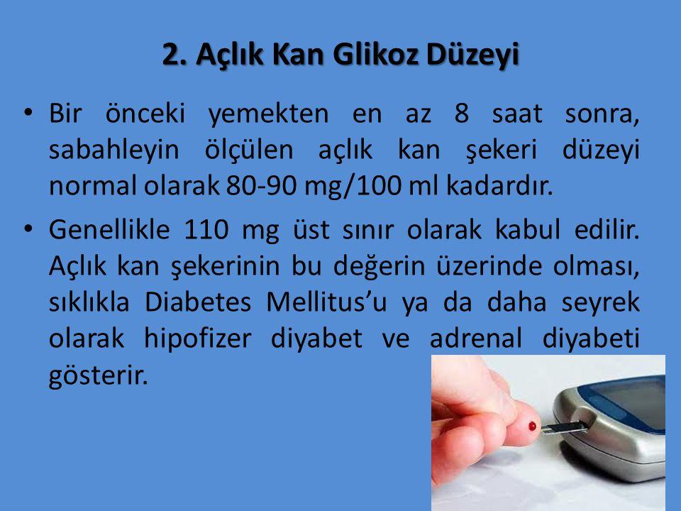 2. Açlık Kan Glikoz Düzeyi Bir önceki yemekten en az 8 saat sonra, sabahleyin ölçülen açlık kan şekeri düzeyi normal olarak 80-90 mg/100 ml kadardır.