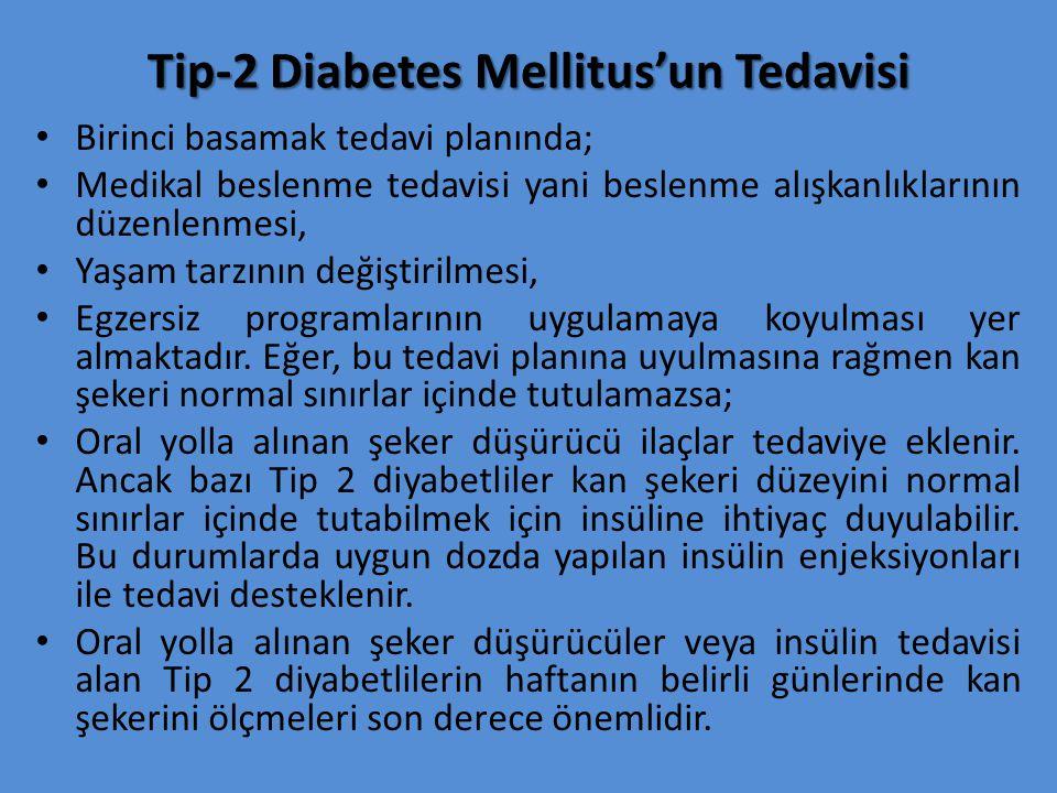 Tip-2 Diabetes Mellitus'un Tedavisi Birinci basamak tedavi planında; Medikal beslenme tedavisi yani beslenme alışkanlıklarının düzenlenmesi, Yaşam tarzının değiştirilmesi, Egzersiz programlarının uygulamaya koyulması yer almaktadır.