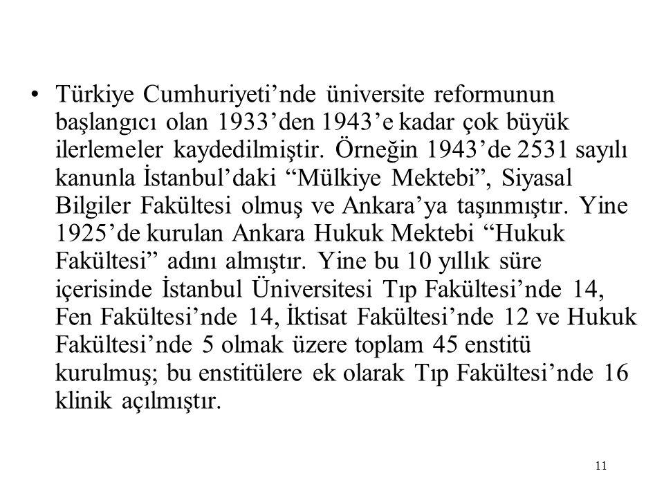 11 Türkiye Cumhuriyeti'nde üniversite reformunun başlangıcı olan 1933'den 1943'e kadar çok büyük ilerlemeler kaydedilmiştir. Örneğin 1943'de 2531 sayı