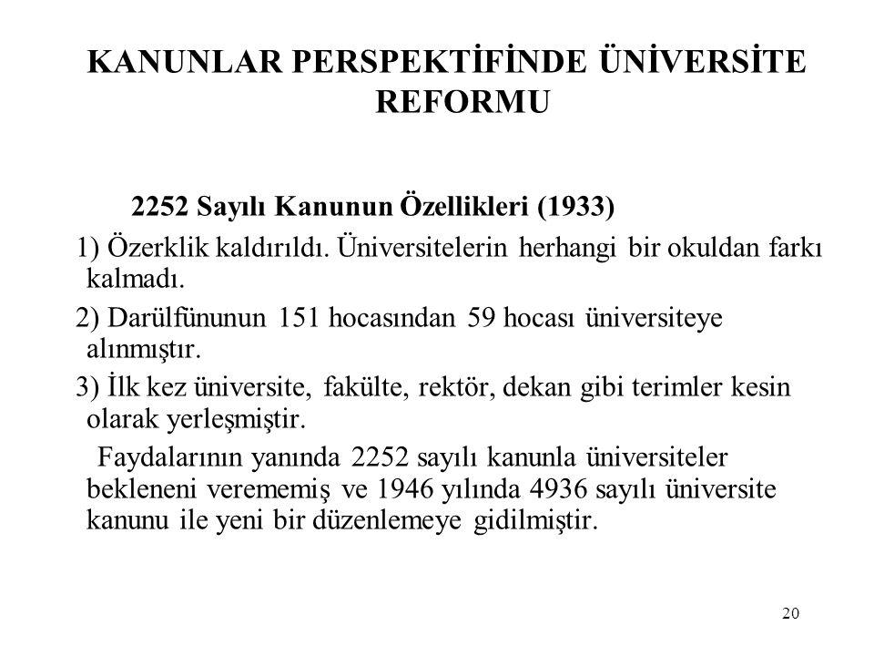 20 KANUNLAR PERSPEKTİFİNDE ÜNİVERSİTE REFORMU 2252 Sayılı Kanunun Özellikleri (1933) 1) Özerklik kaldırıldı. Üniversitelerin herhangi bir okuldan fark