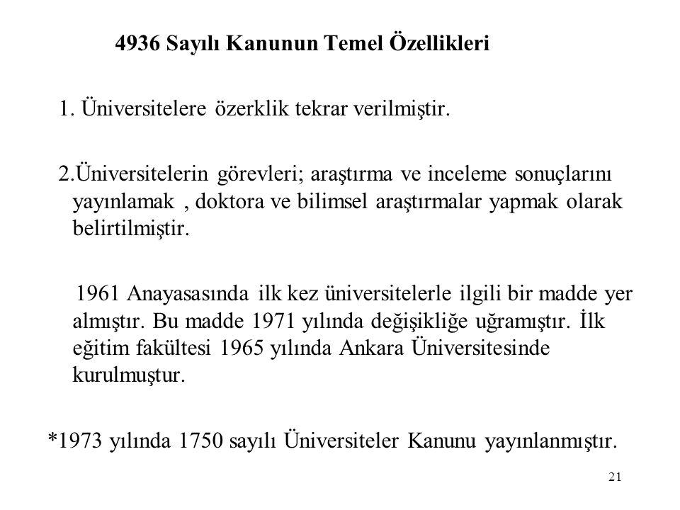 21 4936 Sayılı Kanunun Temel Özellikleri 1. Üniversitelere özerklik tekrar verilmiştir. 2.Üniversitelerin görevleri; araştırma ve inceleme sonuçlarını