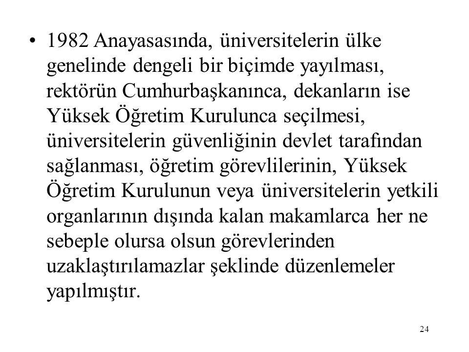 24 1982 Anayasasında, üniversitelerin ülke genelinde dengeli bir biçimde yayılması, rektörün Cumhurbaşkanınca, dekanların ise Yüksek Öğretim Kurulunca