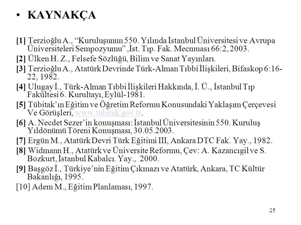 """25 KAYNAKÇA [1] Terzioğlu A., """"Kuruluşunun 550. Yılında İstanbul Üniversitesi ve Avrupa Üniversiteleri Sempozyumu"""",İst. Tıp. Fak. Mecmuası 66:2, 2003."""