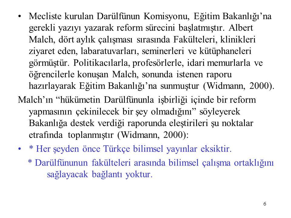 6 Mecliste kurulan Darülfünun Komisyonu, Eğitim Bakanlığı'na gerekli yazıyı yazarak reform sürecini başlatmıştır. Albert Malch, dört aylık çalışması s