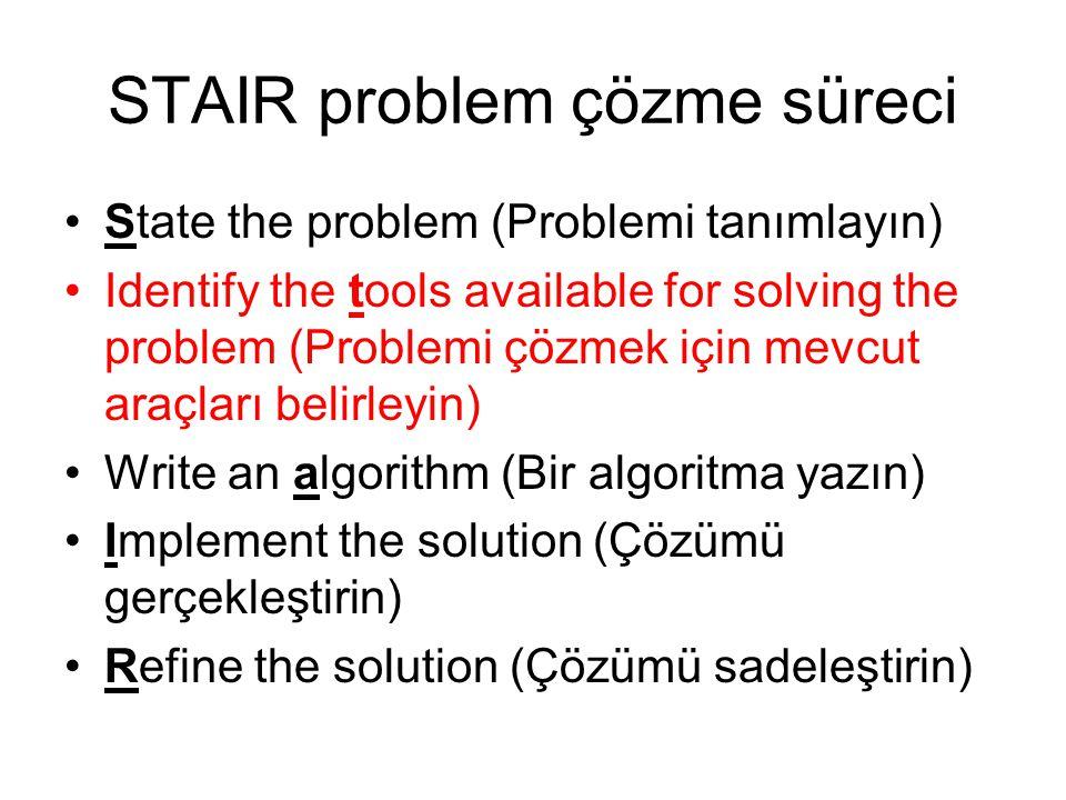 STAIR problem çözme süreci State the problem (Problemi tanımlayın) Identify the tools available for solving the problem (Problemi çözmek için mevcut araçları belirleyin) Write an algorithm (Bir algoritma yazın) Implement the solution (Çözümü gerçekleştirin) Refine the solution (Çözümü sadeleştirin)