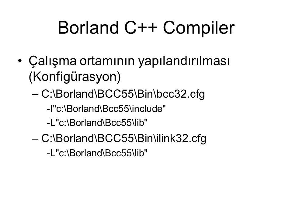 Borland C++ Compiler Çalışma ortamının yapılandırılması (Konfigürasyon) –C:\Borland\BCC55\Bin\bcc32.cfg -I c:\Borland\Bcc55\include -L c:\Borland\Bcc55\lib –C:\Borland\BCC55\Bin\ilink32.cfg -L c:\Borland\Bcc55\lib