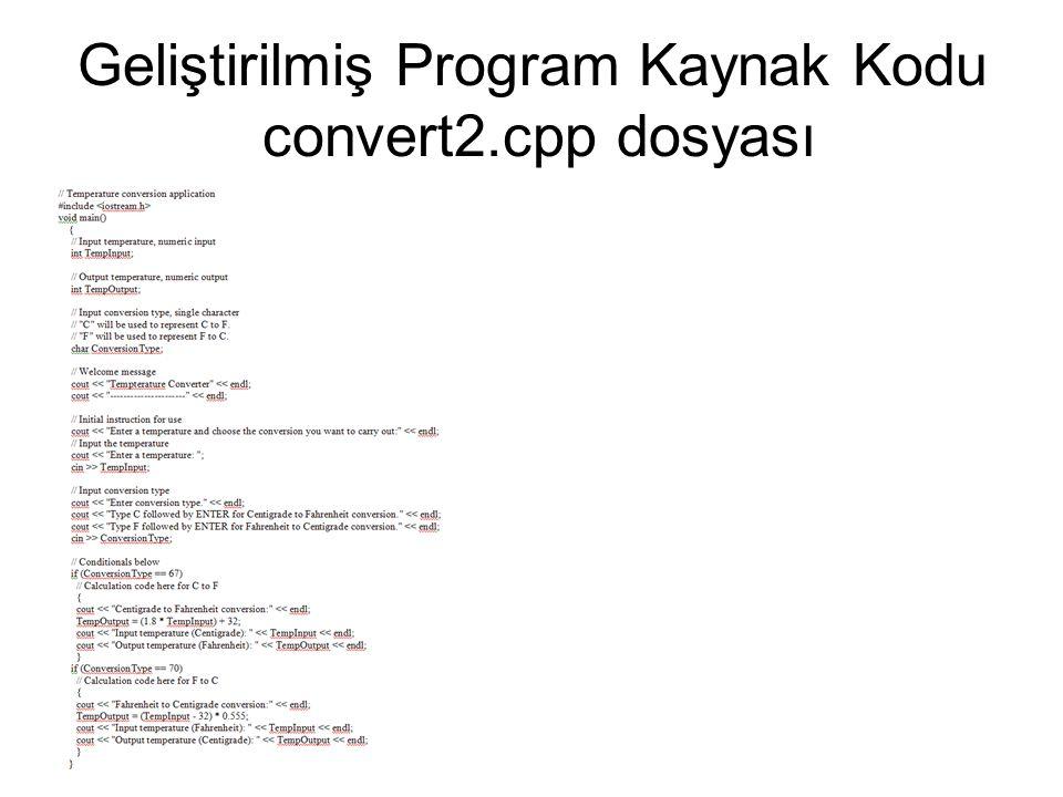 Geliştirilmiş Program Kaynak Kodu convert2.cpp dosyası