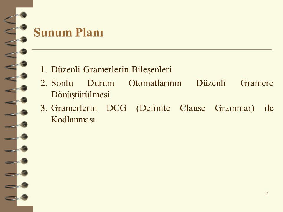 Sunum Planı 2 1.Düzenli Gramerlerin Bileşenleri 2.Sonlu Durum Otomatlarının Düzenli Gramere Dönüştürülmesi 3.Gramerlerin DCG (Definite Clause Grammar)