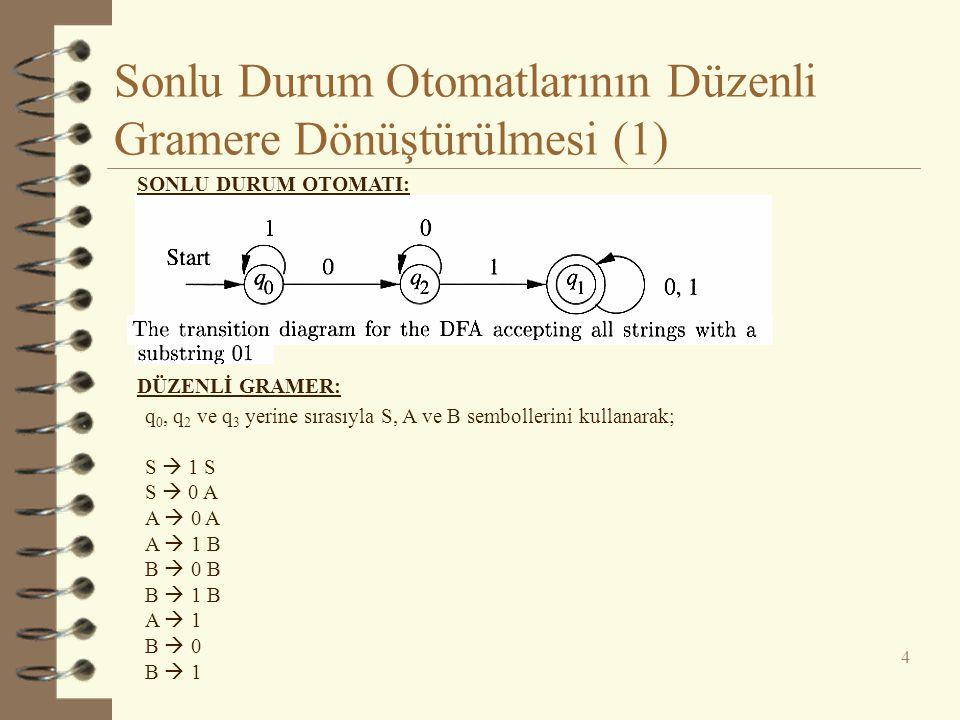Sonlu Durum Otomatlarının Düzenli Gramere Dönüştürülmesi (1) 4 SONLU DURUM OTOMATI: DÜZENLİ GRAMER: q 0, q 2 ve q 3 yerine sırasıyla S, A ve B semboll