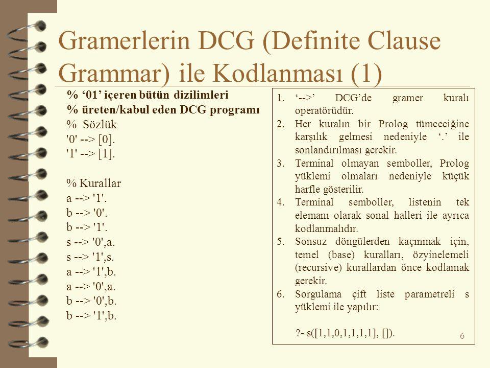 Gramerlerin DCG (Definite Clause Grammar) ile Kodlanması (1) 6 % '01' içeren bütün dizilimleri % üreten/kabul eden DCG programı % Sözlük '0' --> [0].
