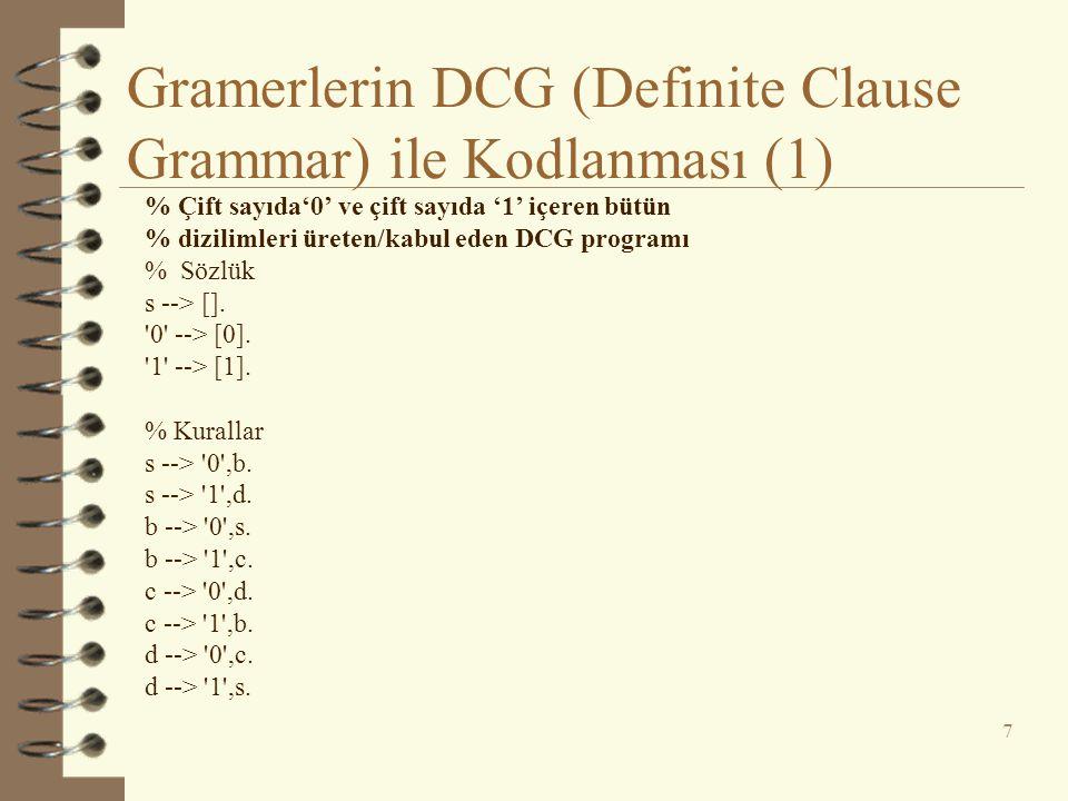Gramerlerin DCG (Definite Clause Grammar) ile Kodlanması (1) 7 % Çift sayıda'0' ve çift sayıda '1' içeren bütün % dizilimleri üreten/kabul eden DCG pr