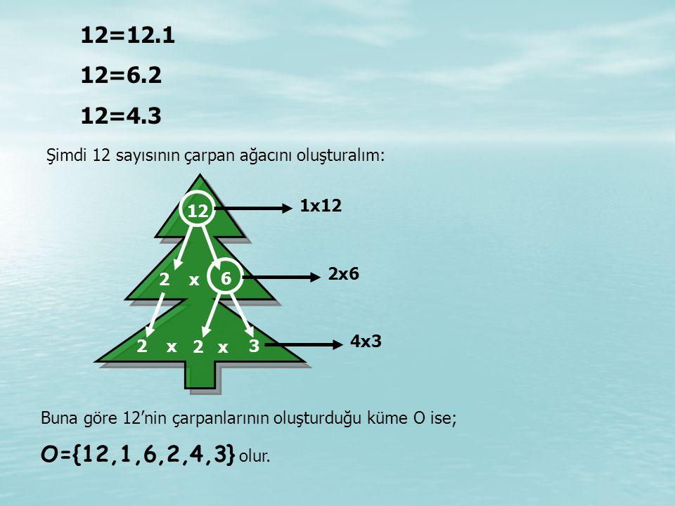 12=12.1 12=6.2 12=4.3 Buna göre 12'nin çarpanlarının oluşturduğu küme O ise; O={12,1,6,2,4,3} olur.