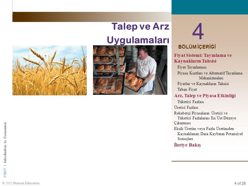 4 of 26 PART I Introduction to Economics © 2012 Pearson Education 4 Talep ve Arz Uygulamaları BÖLÜM İÇERİĞİ Fiyat Sistemi: Tayınlama ve Kaynakların Tahsisi Fiyat Tayınlaması Piyasa Kısıtları ve Alternatif Tayınlama Mekanizmaları Fiyatlar ve Kaynakların Tahsisi Taban Fiyat Arz, Talep ve Piyasa Etkinliği Tüketici Fazlası Üretici Fazlası Rekabetçi Piyasaların Üretici ve Tüketici Fazlalarını En Üst Düzeye Çıkarması Eksik Üretim veya Fazla Üretimden Kaynaklanan Dara Kaybının Potansiyel Sonuçları İleriye Bakış