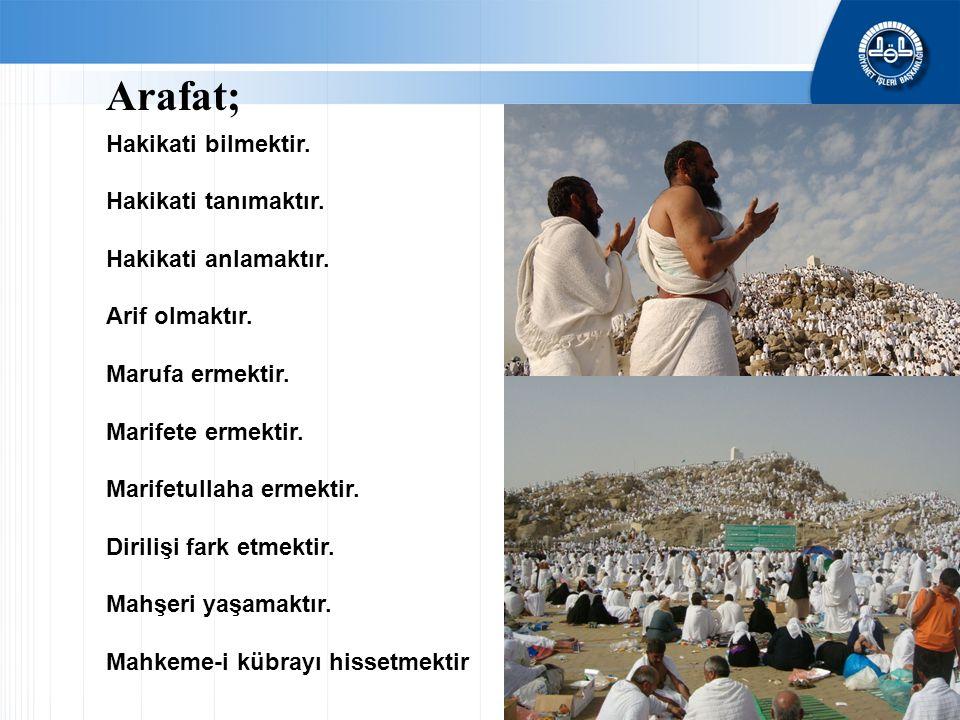 Arafat; Hakikati bilmektir. Hakikati tanımaktır. Hakikati anlamaktır. Arif olmaktır. Marufa ermektir. Marifete ermektir. Marifetullaha ermektir. Diril