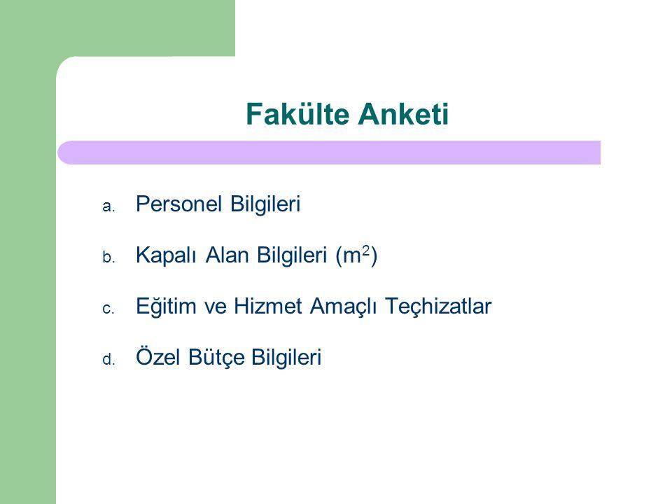 Fakülte Anketi a.Personel Bilgileri b. Kapalı Alan Bilgileri (m 2 ) c.